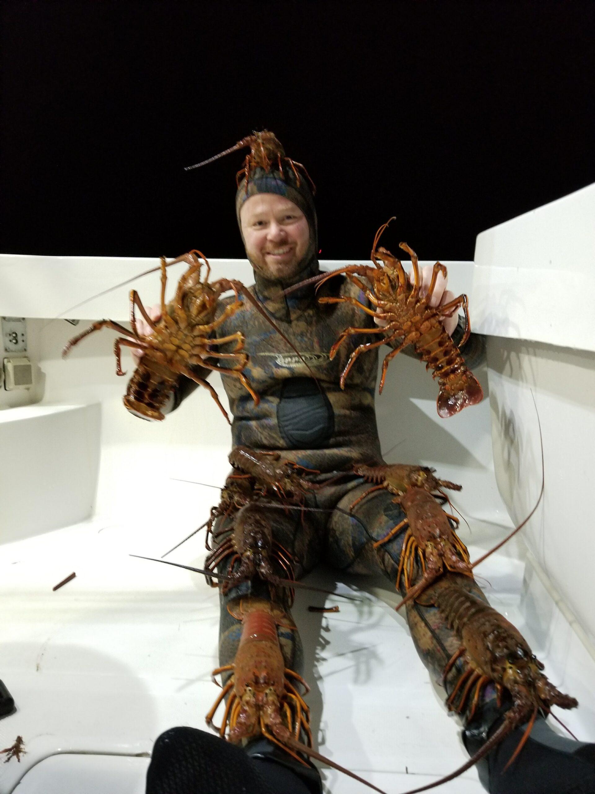 Lobster diver holding lobsters